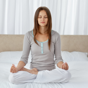 image of a woman meditating on the mindfulness meditation page